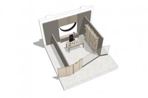 ufficio con una postazione privato, completa privacy per lavorare e ricevere ospiti